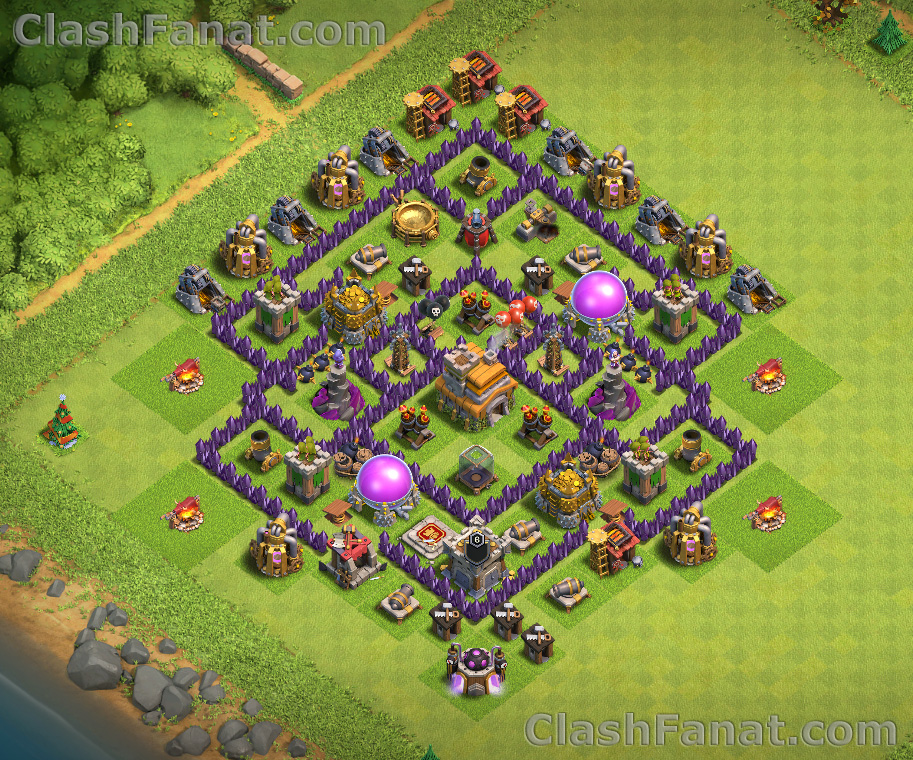 Town hall 7 defense base