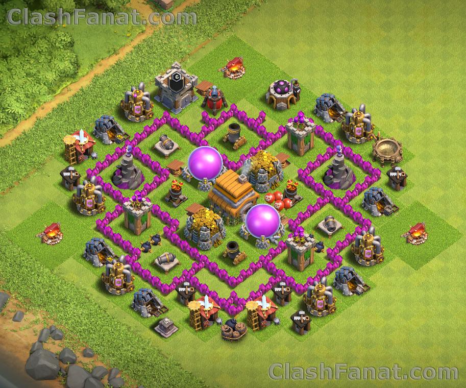 Town hall 6 defense base